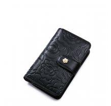 Menší dámská květinová kožená peněženka černá