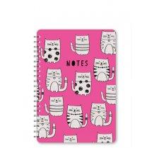 Kroužkový růžový zápisník s motivem koček A5