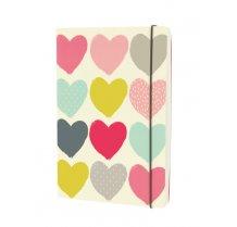 Designový zápisník A5 s barevnými srdíčky