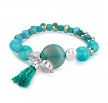 Dámský letní korálkový náramek - modro zelený PL23