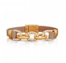 Dámský široký kožený náramek s řetězem zdobeným kamínky - světle hnědý PL25