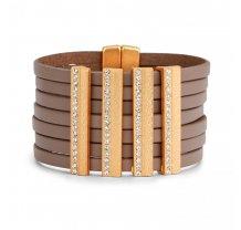 Luxusní dámský kožený široký náramek - světle hnědý PL26