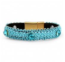 Dámský  módní náramek zdobený kamínky - modrý PL36