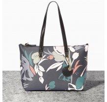 Dámská elegantní kabelka na rameno Nica černá s květinami