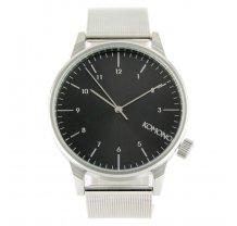 Stříbrné hodinky s černým ciferníkem Komono Winston Royale