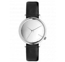 Dámské hodinky stříbrné s černým páskem Komono Estelle Mirror Silver Black