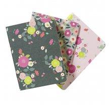 Sada kaspesních zápisníků s květinovým motivem