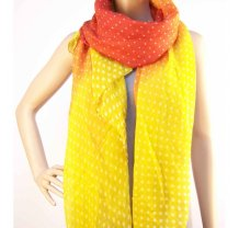 Červeno žlutý šátek s tečkama