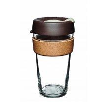 Skleněný Termohrnek KeepCup Almond Cork Large - hnědý