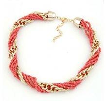 Růžový korálkový náhrdelník