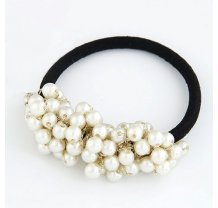 Gumička s bílými perlami