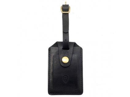 Kožená jmenovka za zavazadlo Tumble & Hide černá