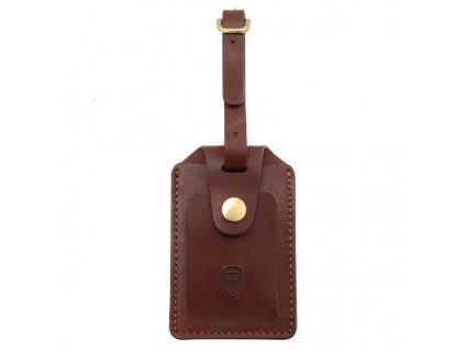 Kožená jmenovka na zavazadlo Tumble & Hide - Hnědá
