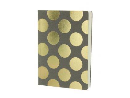 Šedý zápisník se zlatými třpytivými puntíky A5