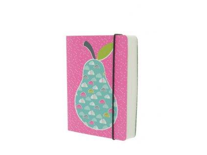 Růžový zápisník s motivem hrušky A6