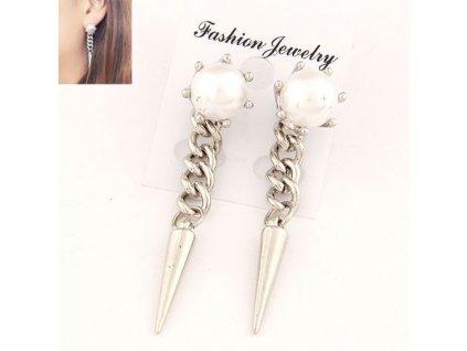 Náušnice bílé perly s visacími hroty