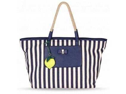 Dámská plážová taška pruhovaná Nica modrobílá - Bagisimo