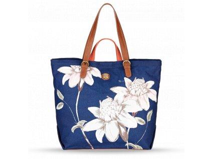 Dámská letní taška s květinovým vzorem Nica modrá - Bagisimo