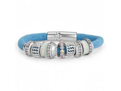 Dámský kulatý náramek zdobený korálky - modrý PL41