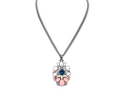 Jednoduchý náhrdelník s barevnou ozdobou z kamínků