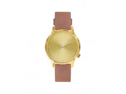 Dámské zlaté hodinky s hnědým páskem Komono Estelle Lotus