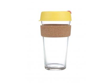 Skleněný Termohrnek KeepCup Brew Saffron Cork Large - žlutý