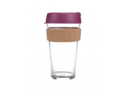 Skleněný Termohrnek KeepCup Cinnamon Cork Large - fialový