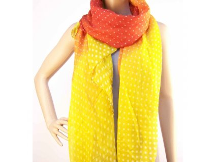 Šátek s puntíkama - Červeno žlutý