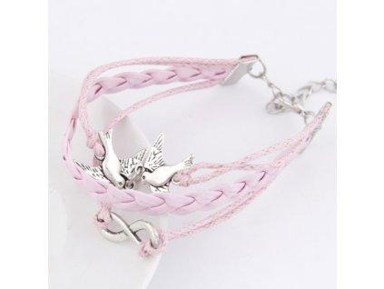 Růžový náramek s holubicemi