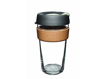 skleneny termohrnek keepcup press brew filter cork large tmave sedy