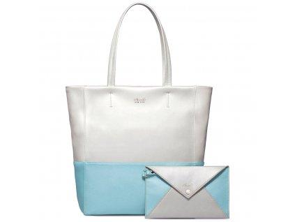 Světle modrá kožená kabelka přes rameno Nucelle Slim