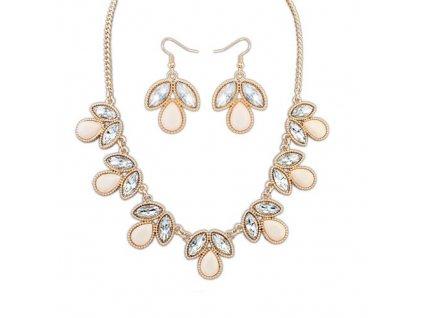 Béžový kamínkový náhrdelník a naušnice