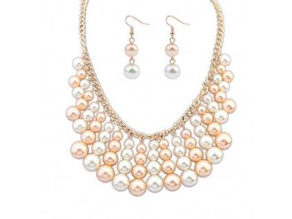 Náhrdelník z bílých a růžových perel