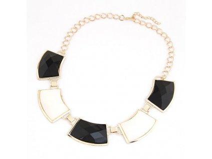 Černo bílý náhrdelník
