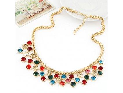Zlatý náhrdelník s barevnými kamínky