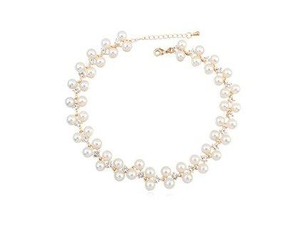 Luxusní perlový náhrdelník s kamínky