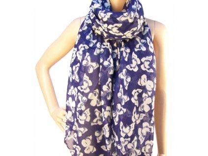 Šátek modrý s bílými motýli