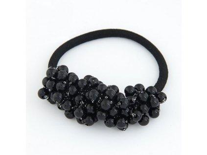 Gumička s černými perlami