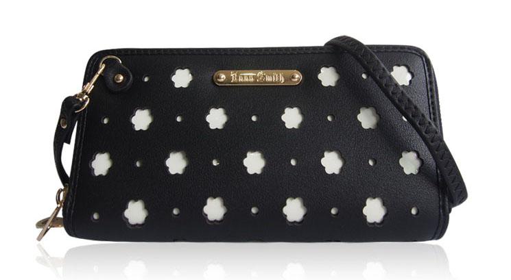 Dámská peněženka dva zipy Anna Smith černá