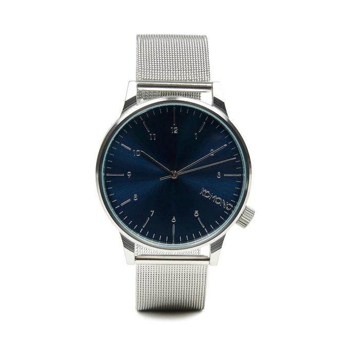 Stříbrné hodinky s modrým ciferníkem Komono Winston Royale