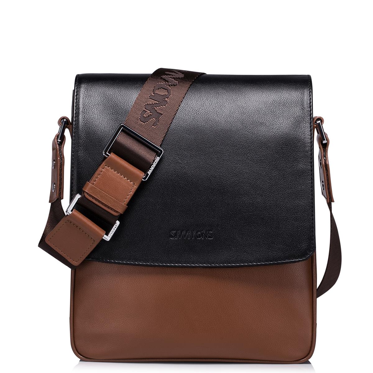 Pánská hnědá kožená taška přes rameno Sammons