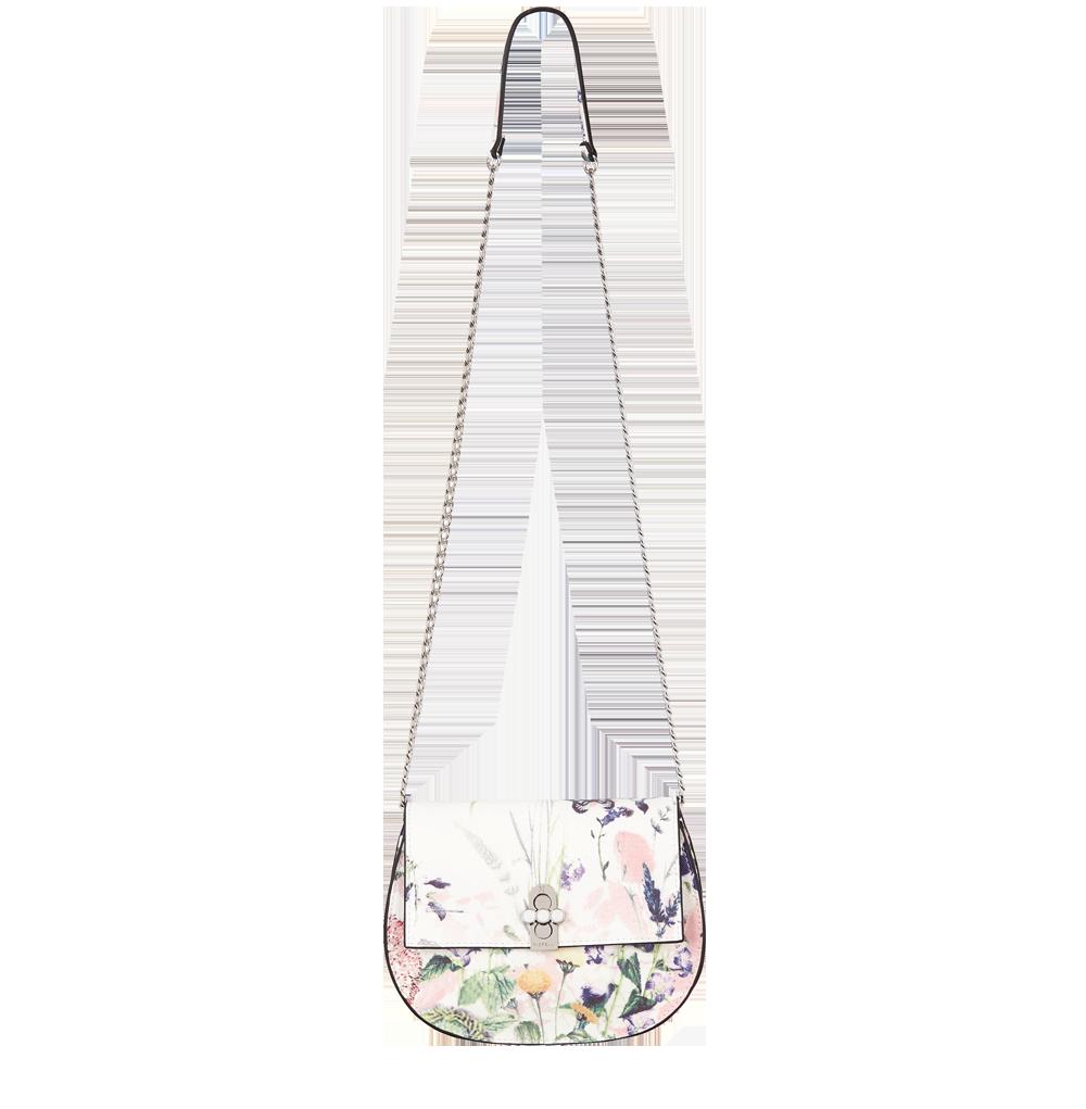 Bílá květinová kabelka crossbody FIORELLI s řetízkem přes rameno