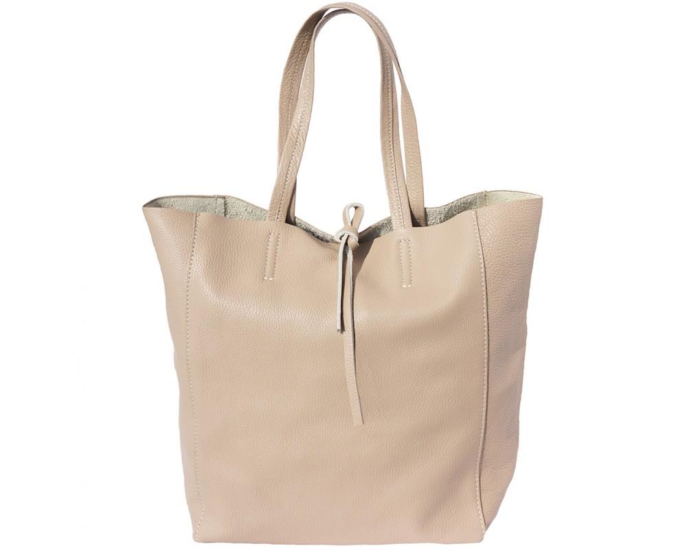 Krémová kožená kabelka do ruky Saffiano Taupe