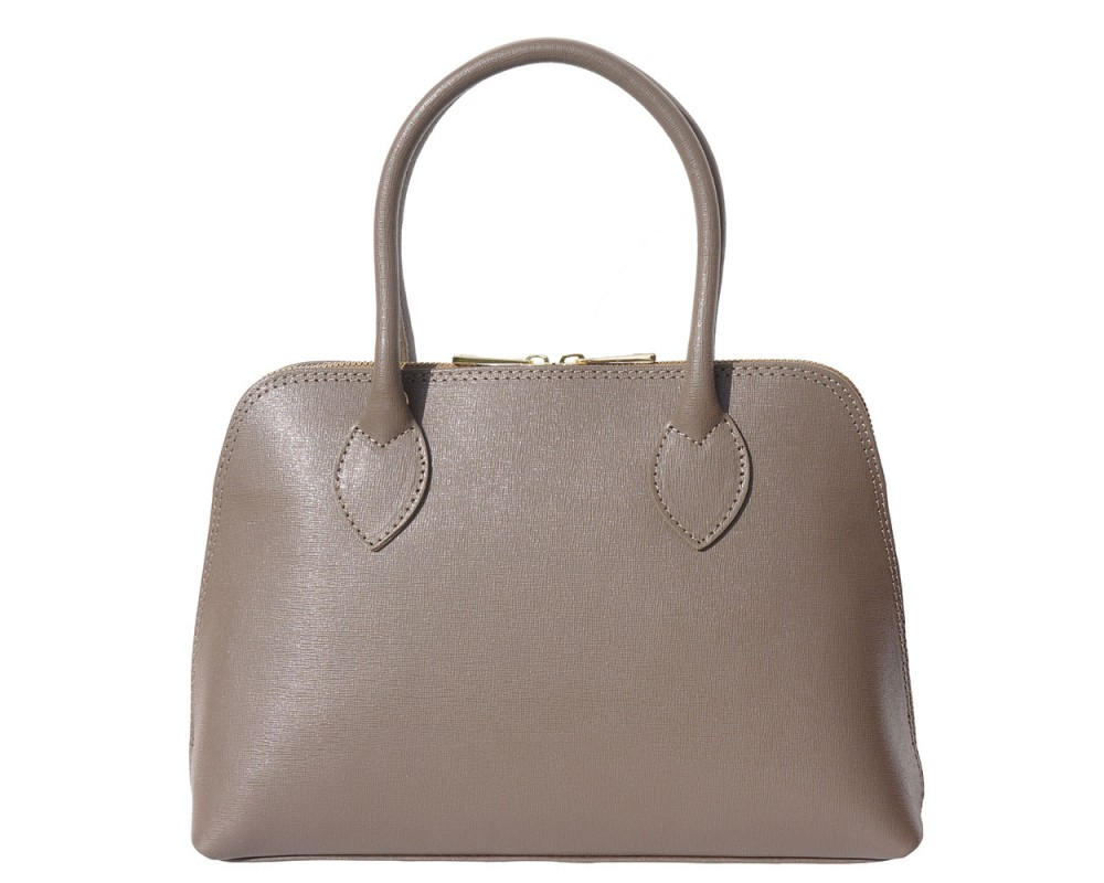 Malá krémová kožená kabelka do ruky i přes rameno Saffiano