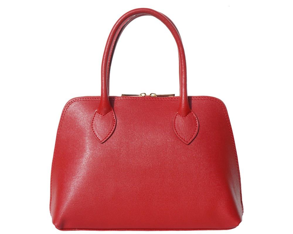 Malá červená kožená kabelka do ruky i přes rameno Saffiano