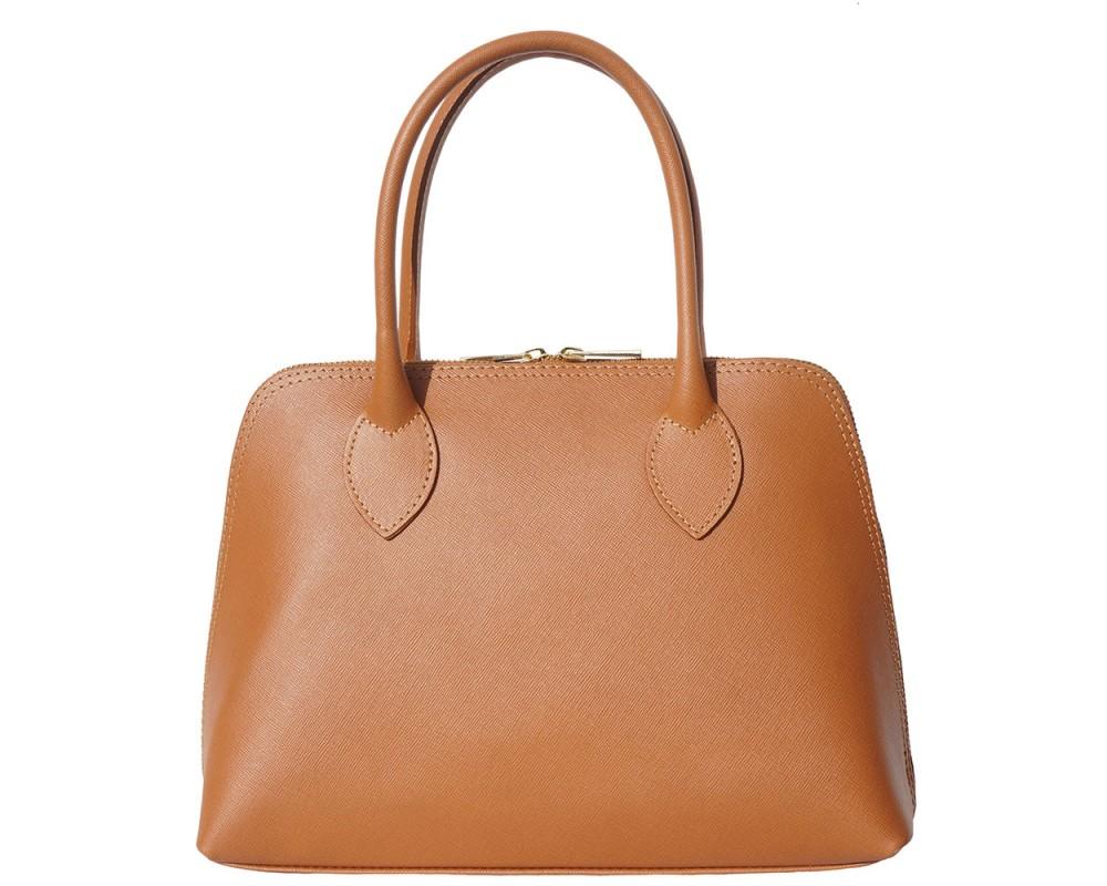 Malá hnědá kožená kabelka do ruky i přes rameno Saffiano