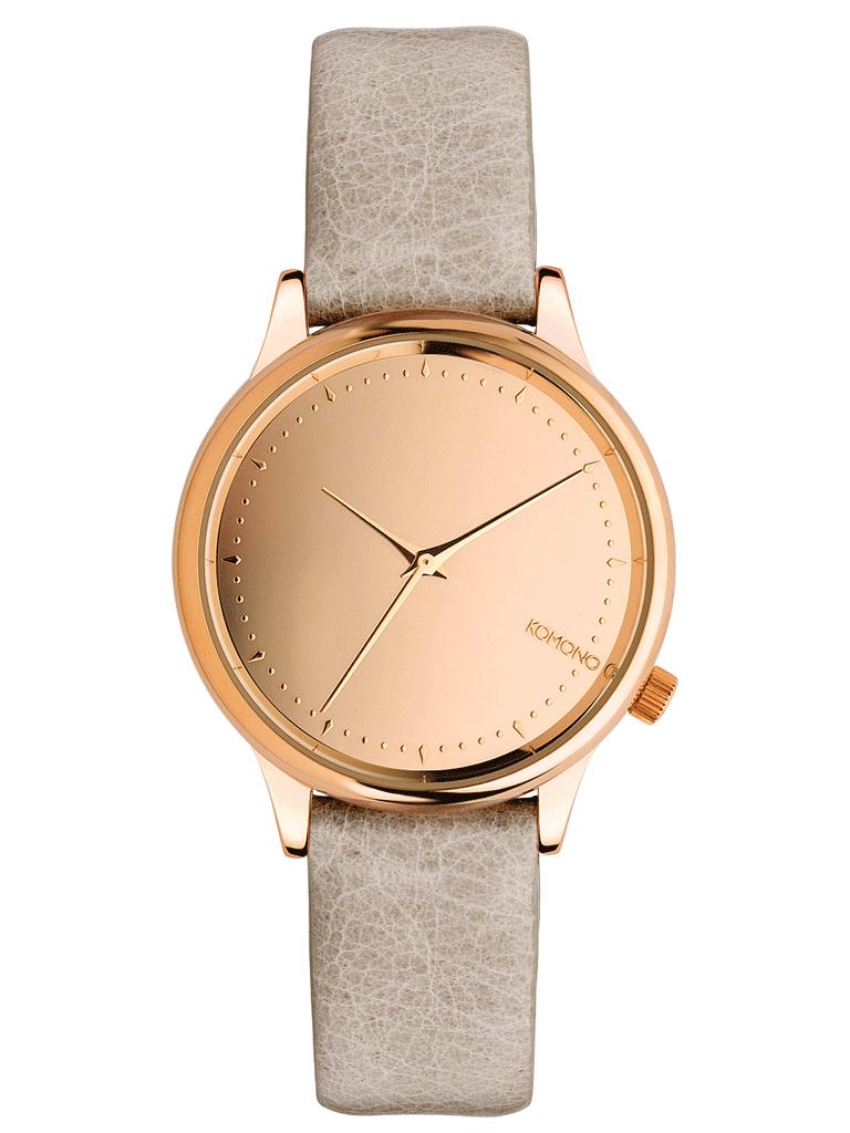 Dámské hodinky růžovo zlaté s koženým páskem Komono Estelle Mirror Rose Gold Grey