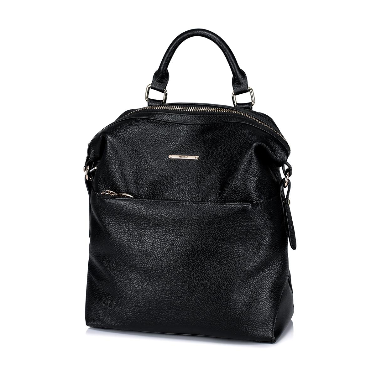 Dámský černý kožený batoh Nucelle City