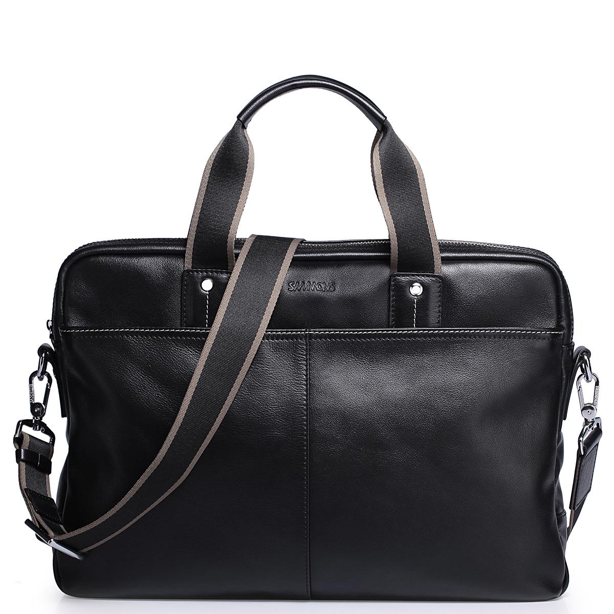 """Pánská kožená taška na notebook 15"""" Sammons Gentleman černá"""