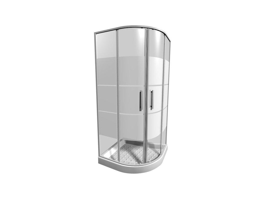 Sprchový kút štvrťkruhový 80 cm LYRA PLUS Jika, sko Stripy, biela